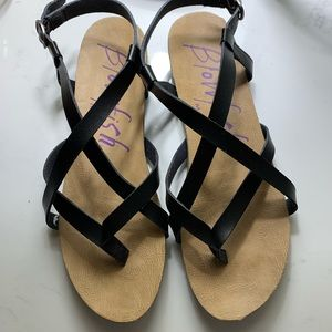 Blowfish leather sandals, size 9.5. Like new!